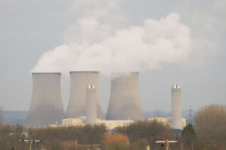 vapour: A power station pumping water vapour pollution into the atmosphere Stock Photo