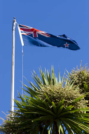 The flag of New Zealand flying over Christchurch photo