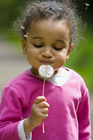 girl blowing: A beautiful young girl blowing the seeds from a dandelion
