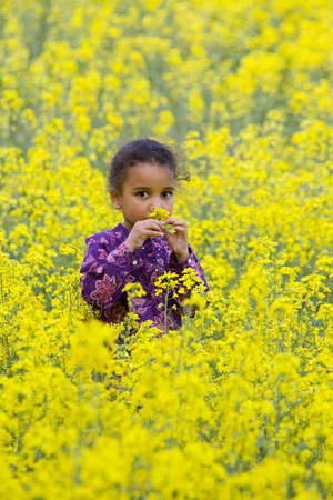 A beautiful young mixed race girl smelling one of the flowers in a field of blooming yellow rapeseed plants photo