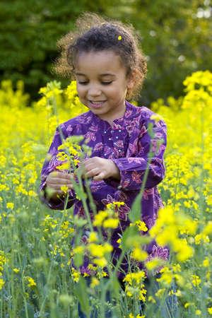 mixed race: Una hermosa ni�a de raza mixta busca divertirse en un campo lleno de flores amarillas  Foto de archivo