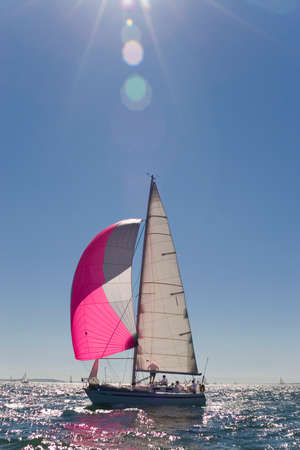 spinnaker: A yacht with a wind filled spinnaker sailing in the early evening sun.
