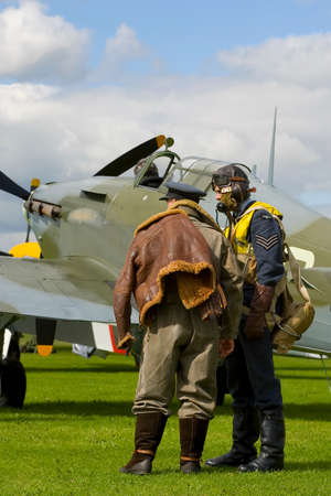 Modern representation of a 1940 airfield during the Battle of Britain complete with pilots and a genuine Hawker Hurricane photo