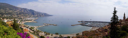 dazur: Panoramic Shot of the harbor in Menton, Cote dAzur, France
