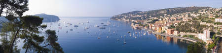 villefranche sur mer: Panoramic view of the beautiful coastal resort of Villefranche Sur Mer, Cote dAzur, France