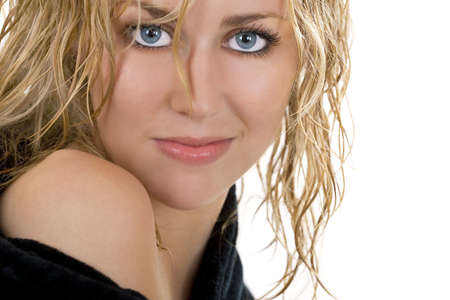 sexy blond: Studio shot of a stunningly beautiful blue eyed model with wet blond hair Stock Photo