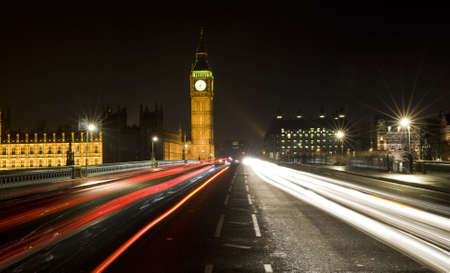 Night time shot of Westminster Bridge, London, England showing Big Ben and the Houses of Parliament Stock Photo - 2252181