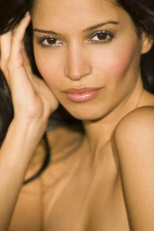sultry: A stunningly beautiful young hispanic woman looking sultry Stock Photo