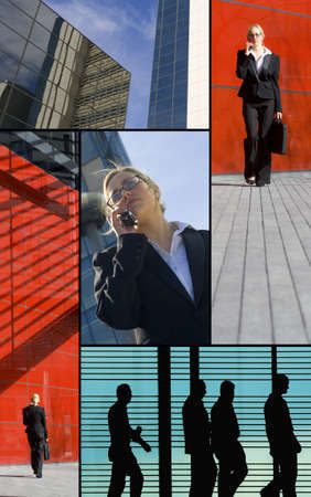 A montage of images depicting modern working life and communication Stock Photo