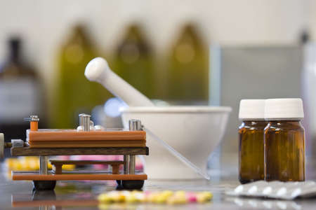 All the equipment needed for the production of drugs and medicines in capsule form Stock Photo