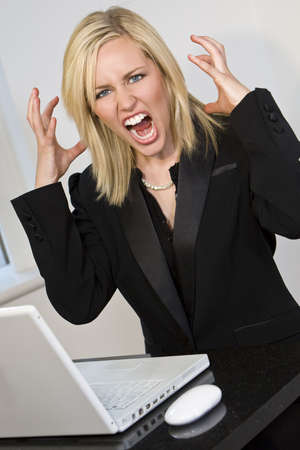 A beautiful young female executive expressing frustration at her laptop computer photo