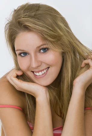 Studio shot of a beautiful blond haired blue eyed female model Stock Photo - 4103609