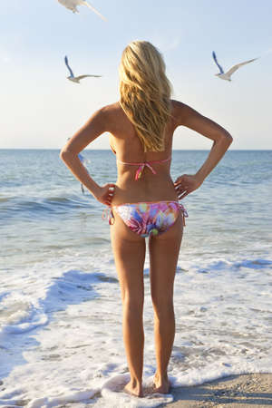 A beautiful young blond woman wearing a bikini looks out to sea while sea gulls fly around her Stock Photo - 4208140