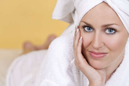 A beautiful young woman relaxing at a health spa Stock Photo - 4710063