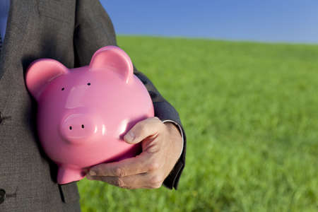 Green investment concept shot of a man in a suit holding a big pink piggy bank in a green field with a bright blue sky. Shot on location with the focus on the piggy bank in the foreground. photo