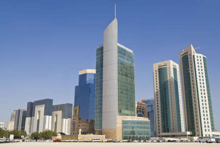 Photograph of the skyscrapers and office buildings of the Doha Financial District Skyline, Qatar