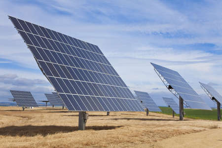 photovoltaic panel: A field of photovoltaic solar panels providing alternative green energy