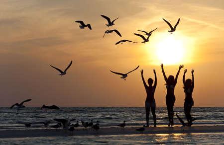 Drie prachtige jonge vrouwen in bikinis dansen op een strand bij zons ondergang omgeven door zee gull vogels in silhouet