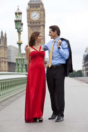 Romantic man and woman couple on Westminster Bridge with Big Ben in the background, London, England, Great Britain Stock Photo - 7687874