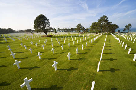 Rows of white crosses at the World War 2 American Cemetery, Colleville-sur-Mer, Omaha Beach, Normandy, France, Europe photo
