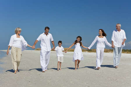 saludable: Una familia feliz de abuelos, madre, padre, dos hijos, hijo e hija, caminando a manos de explotaci�n y divertirse en una soleada playa