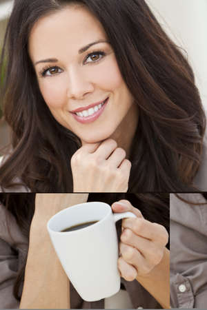 woman drinking coffee: A beautiful young woman or girl with a wonderful smile drinking tea or coffee from a white cup
