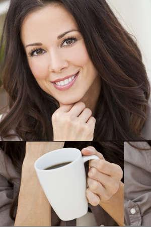 mujer tomando cafe: Una hermosa mujer joven o niña con una sonrisa maravillosa bebiendo té o café de una Copa de blanca