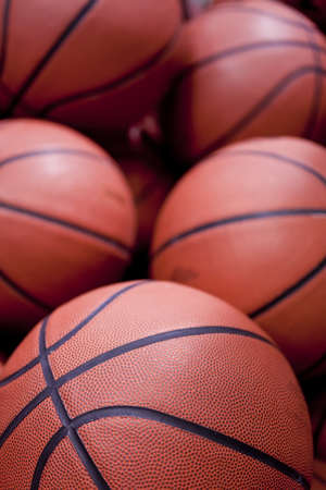basketballs: Five basketballs in clode up Stock Photo