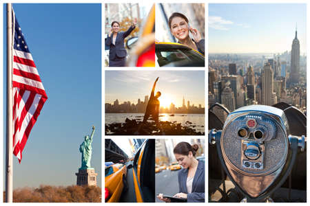 A montage of images showing lifefstyle of young woman or businesswoman in New York City, hailing a yellow Taxi cab, talking on cell phone, exercising and using tablet computer photo
