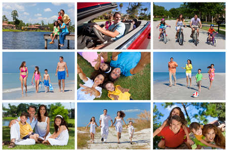 An attractive happy, laughing family of mother, father, son and daughter outside active having fun on summer vacation, cycling, beach, park, fishing and driving photo