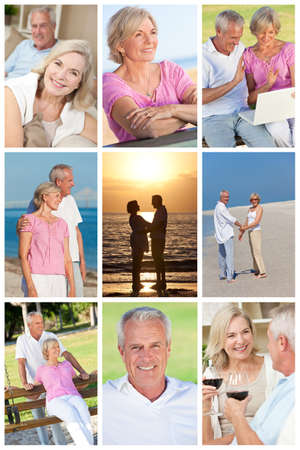Happy retirement senior man and woman couple active romantic vacation together in summer sunshine photo