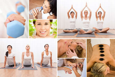 Healthy lifestyle montage of beautiful women, relaxing, working out, smiling at a health spa photo