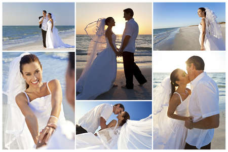 Wedding montage of a married couple, bride and groom, together at sunset on a beautiful tropical beach Standard-Bild