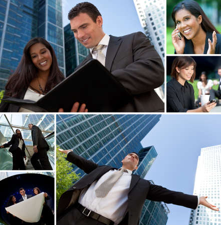 Montage of Interracial business group men & women, businessmen and businesswomen team outdoors photo