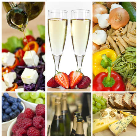 Macro photographs of a fresh food montage salad fruits pasta and cheese with champagne photo