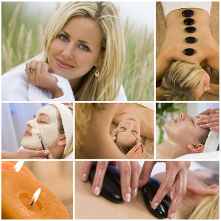Montage of young beautiful women relaxing at a health spa having beauty treatments photo