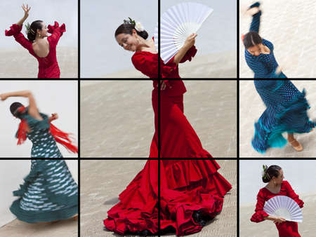 Montage of a traditional Spanish woman Flamenco dancer performing