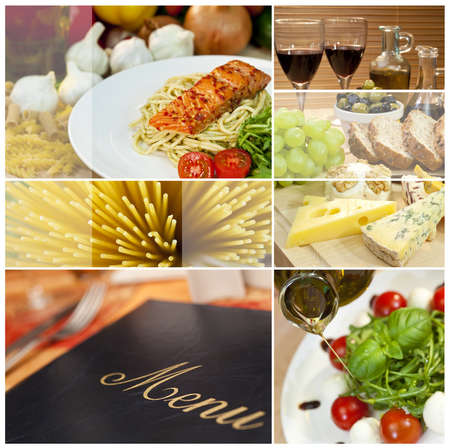 Macro photographs of a fresh food montage, menu salmon cheese wine spaghetti sushi bread Stock Photo
