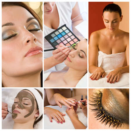 Montage of beautiful women relaxing at a health and beauty spa having their makeup and nails done Stock Photo