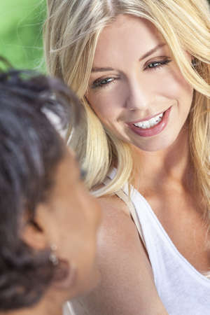 Two beautiful young women or girl friends chatting, one blonde, the other African American Stock Photo - 15063858