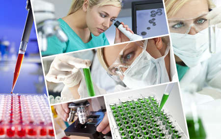 clinical research: A beautiful young female medical or scientific researcher using her microscope doing scientific research in a Laboratory