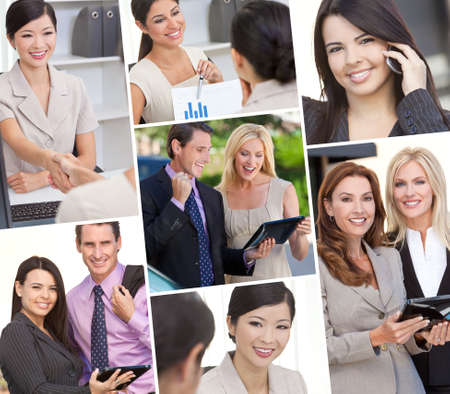 Montage of Interracial business group men & women, businessmen and businesswomen team outdoors and in an office using cell phones and tablet computers photo