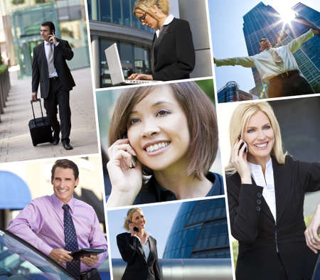 Montage of Interracial business group men & women, businessmen and businesswomen team outdoors using cell phones, laptop and tablet computers Stock Photo - 15238019