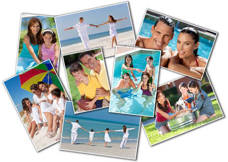 Montage happy family of mother, father and two children, son and daughter, running holding hands on a sunny beach, washing dog, swimming playing football photo