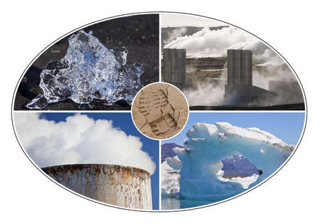 climate change: Environmental concept montage of a human carbon footprint and different environmental changes, icebergs and pollution