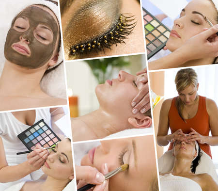beauty make up: Montage of beautiful women relaxing at a health and beauty spa having massage treatments and their makeup applied by a beautician Stock Photo