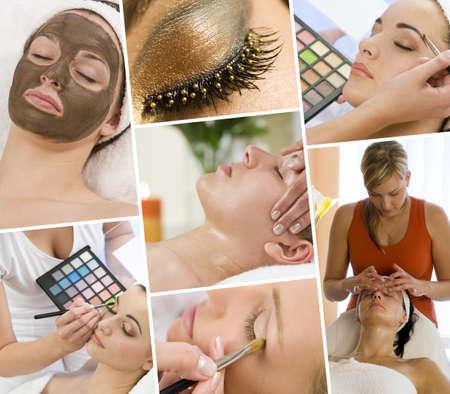 salud sexual: Montaje de hermosas mujeres de relax en un spa de salud y belleza con tratamientos de masaje y su maquillaje aplicado por una esteticista