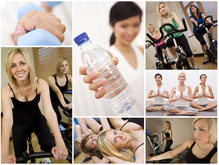 yoga girl: Healthy lifestyle montage of beautiful women, relaxing, working out, smiling and exercising together at a gym Stock Photo