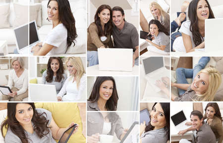 a montage of people men and women at home sitting on sofas or settees using laptop computers or tablet computers smiling happy relaxed.  photo