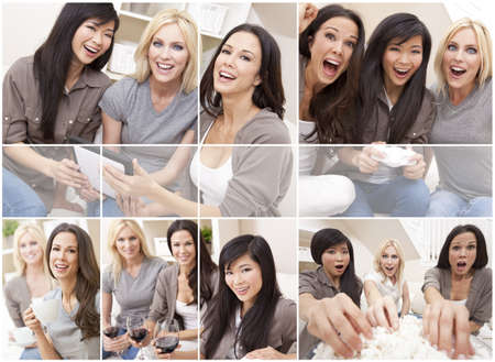Three beautiful interracial young women friends at home having fun playing video games, drinking, eating popcorn and using a tablet computer together laughing and celebrating